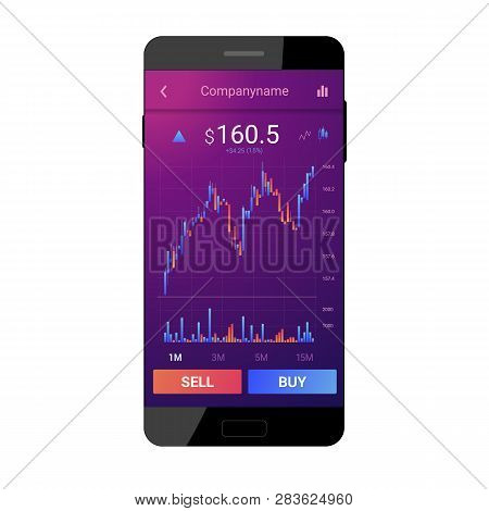 Trading Mobile Interface For Stock Exchange. Candlestick Chart. Uptrend. Modern Violet Design. Vecto