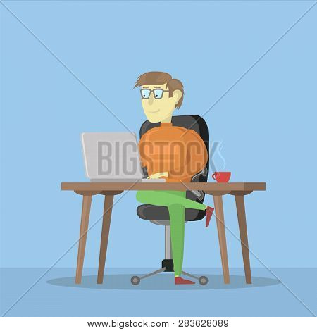 Man Working On A Laptop Computer. Male Business Cartoon Character. Freelancer And His Work Process I