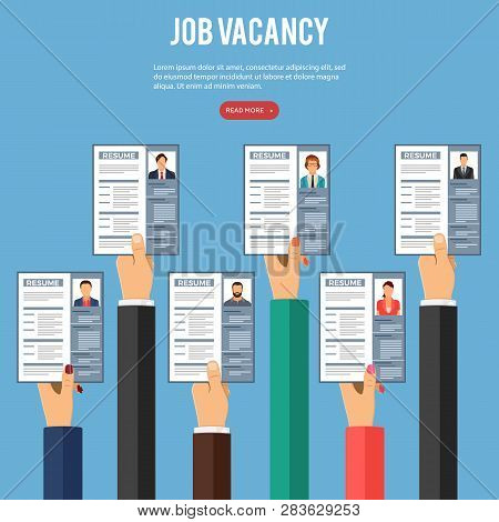 Job Agency Employment, Human Resources And Hiring Concept. Hands Job Seekers, Applicants For Positio