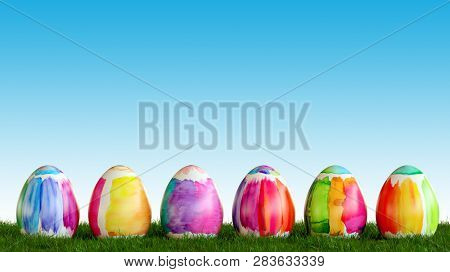 Painted easter eggs are looking on meadow for Easter in front of a blue sky (3d rendering)