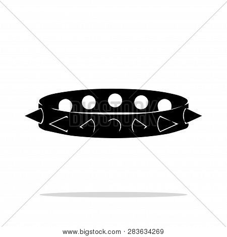 Monochrome Silhouette Spiked Collar Icon, Subculture, Hardcore, Sex Toys, Bdsm, Vector Illustration