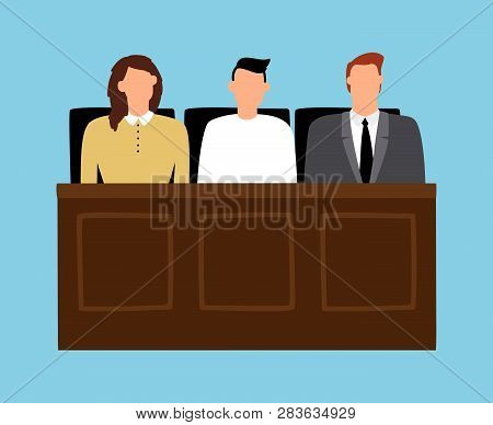 Jury In Trial. Man And Woman Sitting In Court. Trial Of Justice Law, Legal Judgment. Vector Illustra