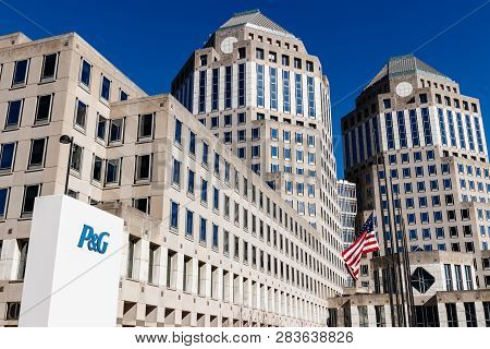 Cincinnati - Circa February 2019: Procter & Gamble Corporate Headquarters With American Flag. P&g Is