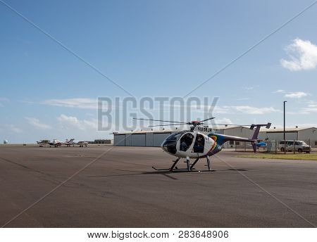 Lihue, Kauai - January 19, 2018: Hughes 500 Open Door Helicopter From Jack Harter Tour Of Kauai