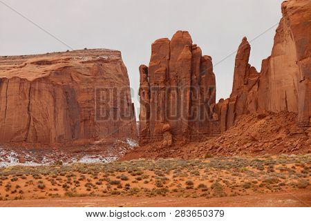 Rock Formations At Monument Valleys In Utah