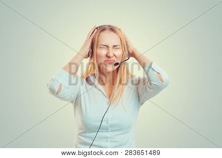 Closeup Portrait Angry Business Blonde Woman, Corporate Employee Hands In Air Aggravated Talking On
