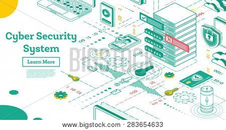 Outline Cyber Security Concept. Isometric Illustration Isolated on White. Data Protection Concept. Credit Card Check and Software. Cryptocurrency and Blockchain Concept.