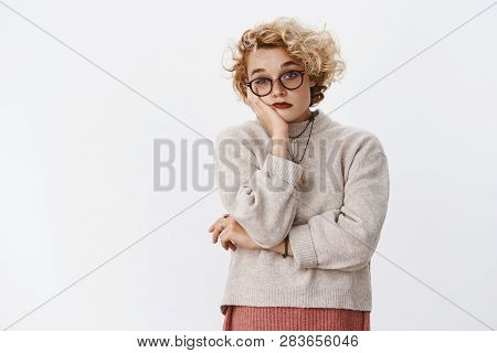 How Boring, Jeez Stop. Portrait Of Uninterested Bored Indifferent Cute Blond Female Attending Uninte
