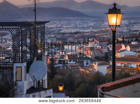 Street Lamps Light The Way ,granada,andalucia,spain.walking Down From The Sacromonte Area,walking Do
