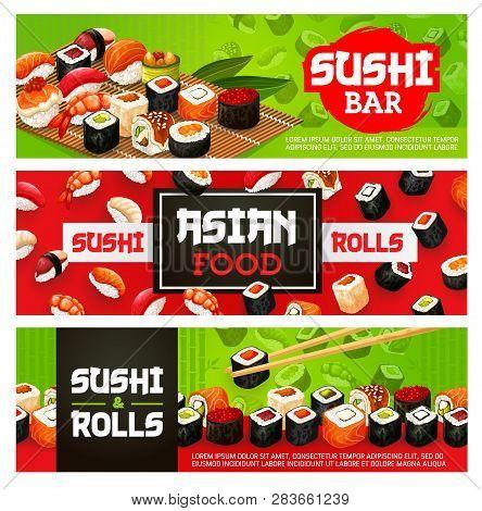 Sushi Bar Menu Banners Of Sushi Rolls, Sashimi And Maki. Vector Japanese Food Sushi With Shrimp, Sal