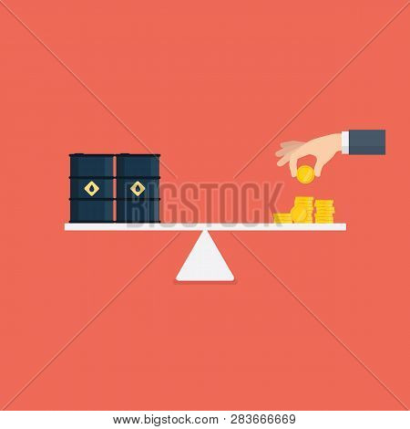 Scales With Oil Barrels And Gold Coins. Crude Oil Commodity Trade