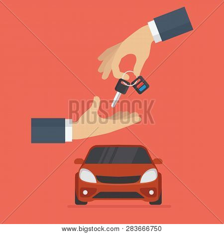 Car Dealer Gives Car Key To Buyer. Renting And Buying Car Concept