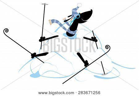 Cartoon Dog Skier And A Big Snowdrift Illustration. Cartoon Dachshund A Skier Appears From The Big S
