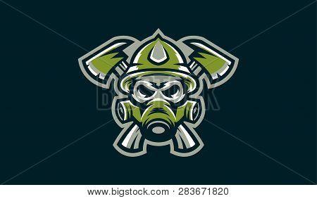 Logo Skull And Two Ax. Military Skeleton, Firefighter. Bones, Commando, Green, Mascot. Vector Illust