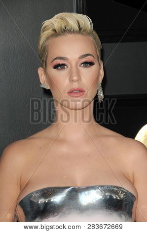 LOS ANGELES - FEB 10:  Katy Perry at the 61st Grammy Awards at the Staples Center on February 10, 2019 in Los Angeles, CA