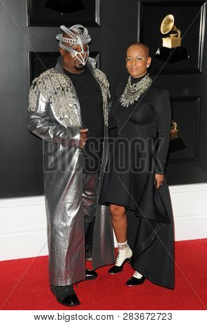 LOS ANGELES - FEB 10:  George Clinton, Carlon Clinton at the 61st Grammy Awards at the Staples Center on February 10, 2019 in Los Angeles, CA
