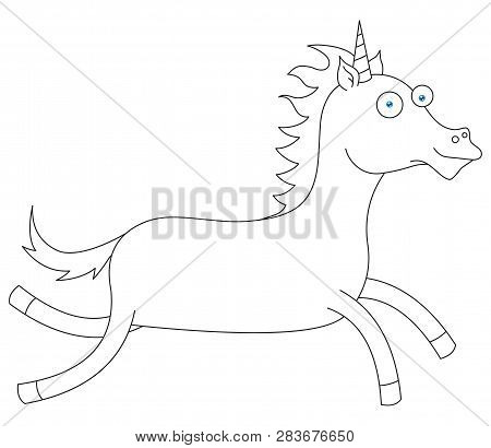 Illustration Of A Line Drawing Of Happy Unicorn