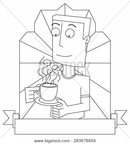 Line Drawing Of A Man Drinking A Cup Of Coffee Cartoon Label