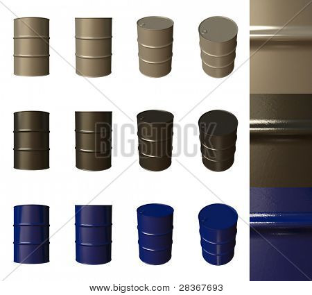 Barrels are isolated on a white background, different camera angles and materials