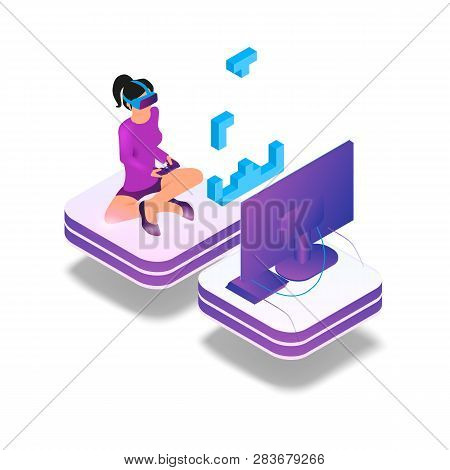 Isometric Image Gaming In Virtual Reality In 3d. Vector Illustration Girl Play Video Game On Tv Usin