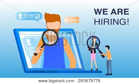 Man Employee Hold Magnifier Appear From Computer. Human Resource Manager Character Hold Loupe Look A