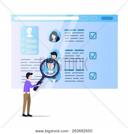 Man Hold Magnifier Monitoring Social Media Resume. Online Recruit On Laptop Screen. Display Data Ana