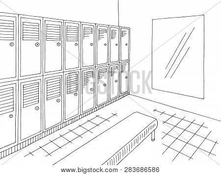 Locker Dressing Room Graphic Black White Interior Sketch Illustration Vector
