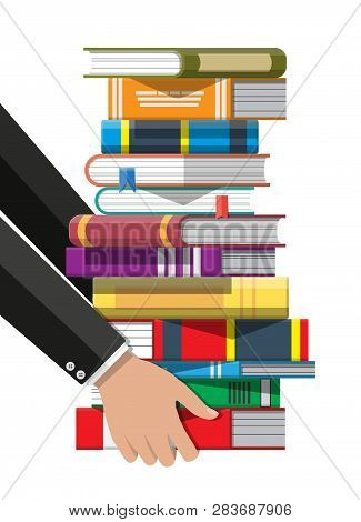 Pile of books in hand. Reading education, e-book, literature, encyclopedia. Vector illustration in flat style poster