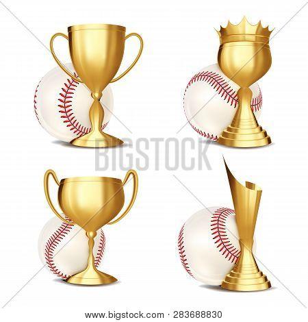 Baseball Game Award Set Vector. Baseball Ball, Golden Cup. Modern Baseball Tournament. Design For Sp
