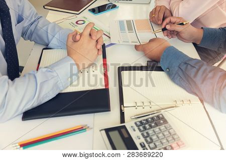 Business And Finance Concept Of Office Working,teamwork Of Businessmen Discussing Investment Busines