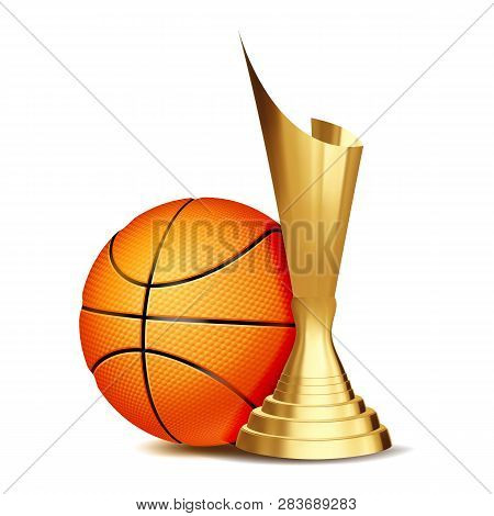 Basketball Game Award Vector. Basketball Ball, Golden Cup. Modern Tournament. Design Element For Spo