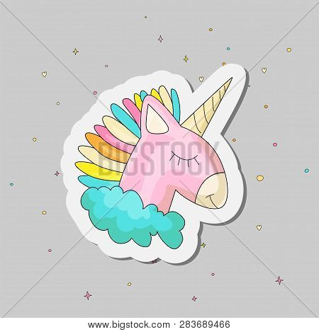 Cute Cartoon Colored Unicorn Vector Illustration. Cute Happy Uni Orn With Horn And Colored Hair, Pin