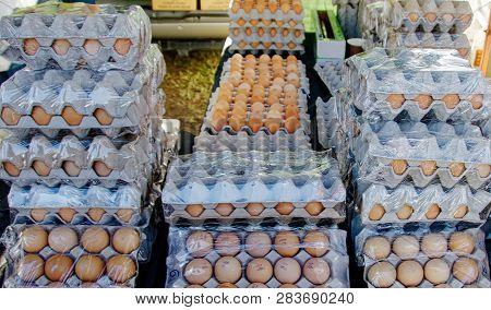 Large Quantity Of Fresh Farm Eggs Displayed For Sale At Gosford City Farmers Markets. Natural Food.