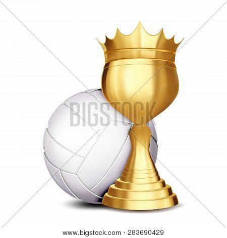 Volleyball Award Vector. Volleyball Ball, Golden Cup. Banner Advertising. Sport Event Announcement.