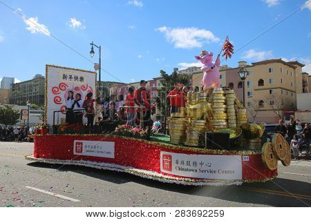 LOS ANGELES - FEBRUARY 9, 2019: Golden Dragon Parade in the streets of China Town Los Angeles. Parade Float at the Chinese New Year celebration 2019.