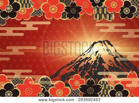 Japanese Vintage Pattern Background With Sakura, Plum Flower, And Mt.fuji