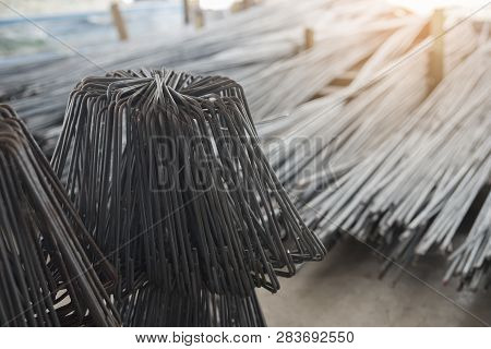 Rebar Steel Shape Used For Beams And Columns (construction Site) In A Store Building Materials.backg