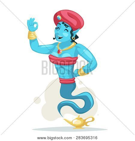 Arabian Cute Woman Genie Turban Luck Magic Wish Lamp Smoke Beautiful Cartoon Female Character Isolat