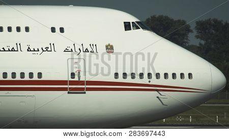 Dusseldorf, Germany - July 23, 2017: Closeup Fuselage Of Boeing 747 Jumbojet Of United Arab Emirates
