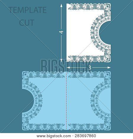 Template Greeting Congratulatory Card With A Decorative Border On The Edge. Wedding Invitation Laser