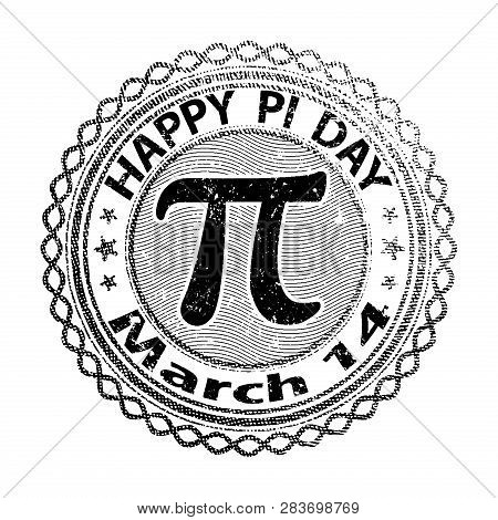 Happy Pi Day Rubber Stamp Isolated On White Background. 14 March World Mathematical Holiday Event La