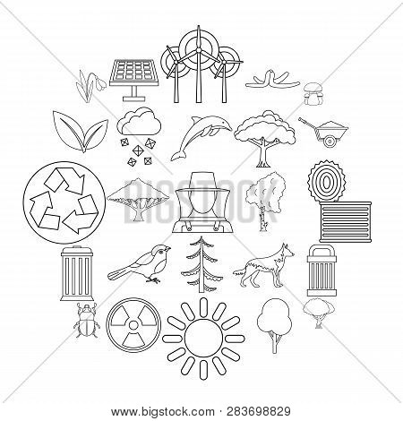 Ecological Care Icons Set. Outline Set Of 25 Ecological Care Vector Icons For Web Isolated On White