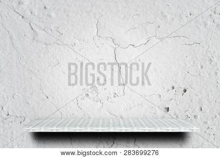 Empty White Cracked Cement Display Table Counter Shelf Background Product Display Copy Space For Dis