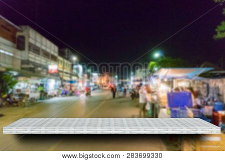 Empty White Night Market Street Display Table Counter Shelf Background Product Display Copy Space Fo
