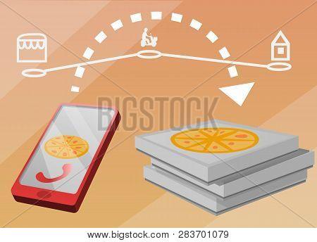 Online Buy Pizza Concept Banner. Cartoon Illustration Of Online Buy Pizza Vector Concept Banner For