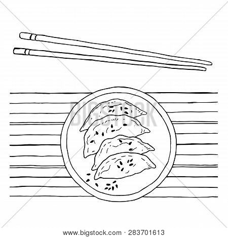 Jiaozi And Sesame With Chopsticks And Bamboo Mat - Chinese Dumpling, Vector Black And White Illustra