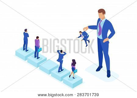 Isometric Bright Concept Personnel Change, The Big Boss Keeps The Employee The Rest Are Afraid. Conc
