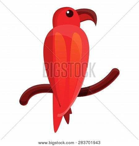 Red Parrot Icon. Cartoon Of Red Parrot Vector Icon For Web Design Isolated On White Background