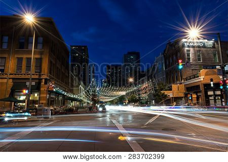 Denver, Colorado - July 6, 2016: Street Scene Along Historic Larimer Square In Downtown Denver With