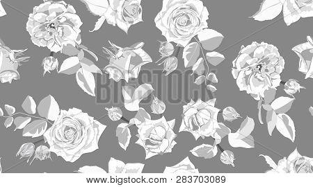 Seamless Floral Pattern. Roses In Watercolor Style. Vintage Flower, Rustic Wedding Decorative Elemen